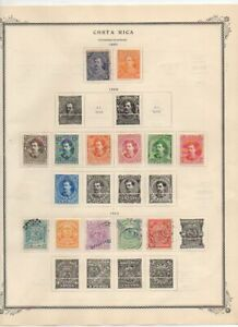1887-1892 S America Costa Rica Mounted mint & used stamps on paper