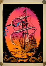 Voyage (Sailing Ship) Vintage Black Light Velvet Poster 1972