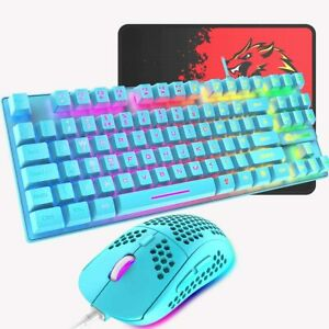 Rainbow Gaming Keyboard And Mouse Set Wired 88 Keys LED Backlit USB For PC PS4