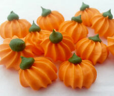 12 MINI PUMPKINS handmade Royal Icing Sugar HALLOWEEN edible cupcake toppers 2cm