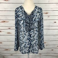J Jill Floral Boho Peasant Tunic Blouse Shirt Top Button Tie Women's Size M Blue