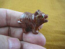 (Y-Tas-De-5) little red white Tasmanian Devil marsupial figurine Soapstone Peru
