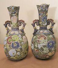 pair antique 1800's handmade Japanese porcelain pottery moriage satsuma vase