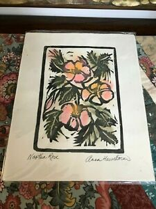 Original Signed Block Printing Pastel Wild Rose BC Canada Artist Anna Hawthorne