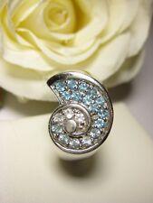 Blautopas Fingerring Ring 7,4 g Schmuck 925 Silber Mode selten 19,8 mm