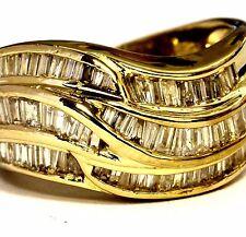 14k yellow gold 1.80ct SI1-2 H diamond cluster band ring 8.2g estate vintage