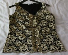 Ladies Top. Black with Gold Floral Pattern. Vertical Front Frill. Size 12. New
