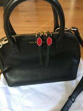Pristine lulu guinness black leather tote bag with optional shoulder strap