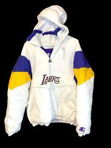 Los Angeles Lakers Vintage Starter Puffer Pullover Jacket 1/4 Zip Hood L RARE