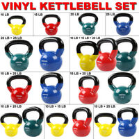 Home Gym Vinyl Kettlebell Kit Body Muscles Training Weights Set 10 15 20 25lbs