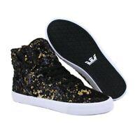 Supra Skytop Women's Fashion Sneakers Black/Gold Sz 7.5 NIB