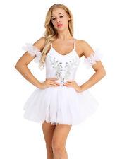 White Adult Sling Ballet Dance Tutu Dress Women Sequined Swan Lake Costume XS-XL