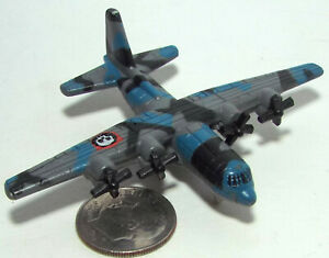 Small Micro Machine C-130 Cargo Aircraft in Blue, Black & Gray Camouflage