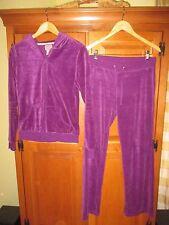 Ladies Juicy Couture Purple Velour Zippered Hoodie & Pants Jogging Sweat Suit L