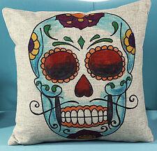 UK NEW Retro Vintage Sugar Skull Linen Throw Pillow Case Cushion Cover NK5