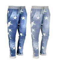 New Womens Ladies Italian Star Print Summer Cotton Jogging Trousers Plus Sizes
