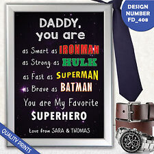 CUSTOM SUPERHERO Father?s Fathers Day Dad Daddy Grandad A4 POSTER PRINT