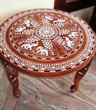 Vintage Look Elephant Carved Inlaid Work Coffee Round Table Rosewood Foldable