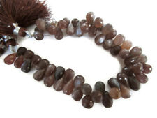 Rare Chocolate Brown Moonstone Faceted Tear Drop Briolette 8 Inches 11mm GDS962