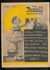 SHIRLEY TEMPLE Cover of The REXALL Magazine April 1935 Drug Store Give Away