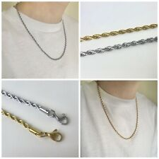 "Mens Sterling Silver Gold Twisted Rope Chain Necklace Pendant 3mm 20"" Length"