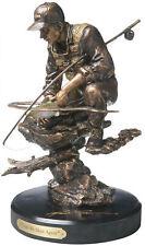 Fly Fishing Sculpture Detailed Figurine Bronze Finish Desk Mantel Display Decor