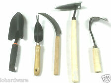 5 pc  Garden Tool Set- Sickle, Ho Mi, Delta Hoe,Shovel Spade & LAWN WEEDER