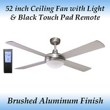 Fias Genesis 52 inch Silver Ceiling fan with Light and Black Touch Pad Remote