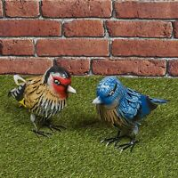 Small Metal Birds Colourful Garden Ornament Sculpture Friendly Features Decor