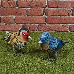Small Metal Birds Colourful Garden Ornament Sculpture Friendly Features Decor