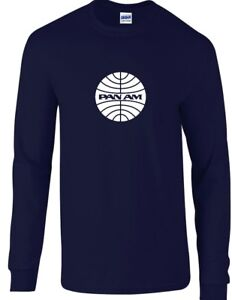 Pan Am White Logo American World Airways Airline Navy Blue Long Sleeve T-Shirt
