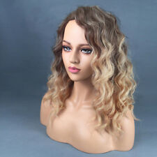 Womens Long Curly Ombre Blonde Heat Resistant African Afro Hair Wigs LH