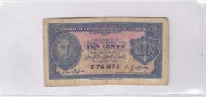 1940 Malaya Board of Commissioners of Currency 10 Cents Banknote