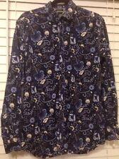 JOE BROWNS Ultimate Shirt Navy Blue Floral Long Sleeve Button Shirt ~ size Med