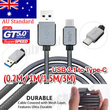 Braided USB 3.1 Type C USB-C to Male Data Cable Fast Charger For Samsung S8 S9