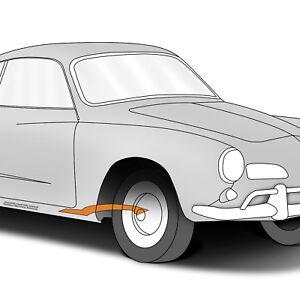 1969-1974 Volkswagen Karmann Ghia VW - Right Heater Channel Bottom Plate w/ Nuts