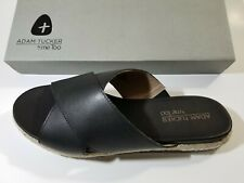 Adam Tucker by Me Too Reeta sz 6 Women's black  Leather Slide Sandals NEW IN BOX