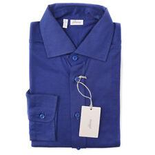 NWT $495 BRIONI Royal Blue Pique Knit Button-Front Cotton Shirt L