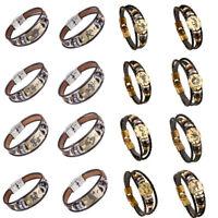 Woman and man 12 zodiac signs weaving 12 zodiac astrology leather bracelet