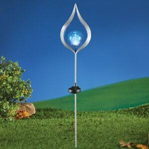 Solar Powered Sparkling Silver Tear Drop w/Blue Cracked Glass Ball Garden Stake