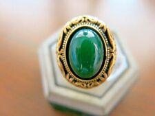 Men Jade Ring Vintage Bronze Gold Green Jadeite Stone Unique Design size 8 Huge