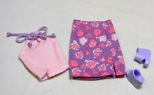 BARBIE DOLL PINK KNIT TANK TOP & LAVENDAR FLOWER SKIRT + SHOES