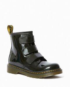Dr Martens Junior 1460 Strap Black Leather Boots Size UK 12 Kids Children