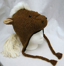 Special Ed~ deLux HORSE HAT knit ADULT costume LINED animal cap for people human