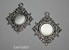 2 silver setting tray pendant frames blanks for 14 mm round cabochons rhombus