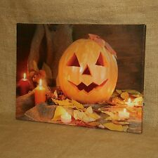 Lighted Painted Canvas Halloween Pumpkin Jack O Lantern Wall Picture