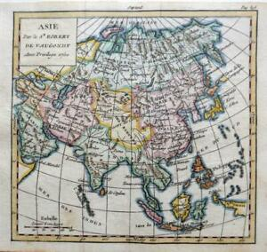 ASIA BY ROBERT DE VAUGONDY c1751  GENUINE COPPER ENGRAVED ANTIQUE MAP