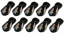 10 x 10Ft XLR 3Pin Female to 1/4 Mono Plug Mic Microphone Audio Cable Lot 10'Ft