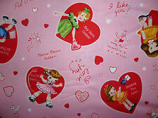Liquidazione FQ Old Fashioned GIRLS BAMBOLE LOVE HEARTS TESSUTO VINTAGE retrò