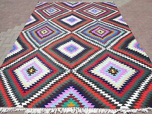 "Anatolian Turkish Classic Kilim Geometric Design Rug Multi Color Carpet 82""x117"""